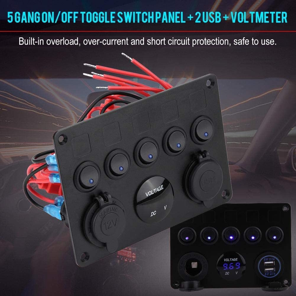 Rocker Switch Pannel 5 Gang On//Off Toggle Switch Panel Dual USB Charger Voltmeter for Car Boat Marine Truck 12-24V