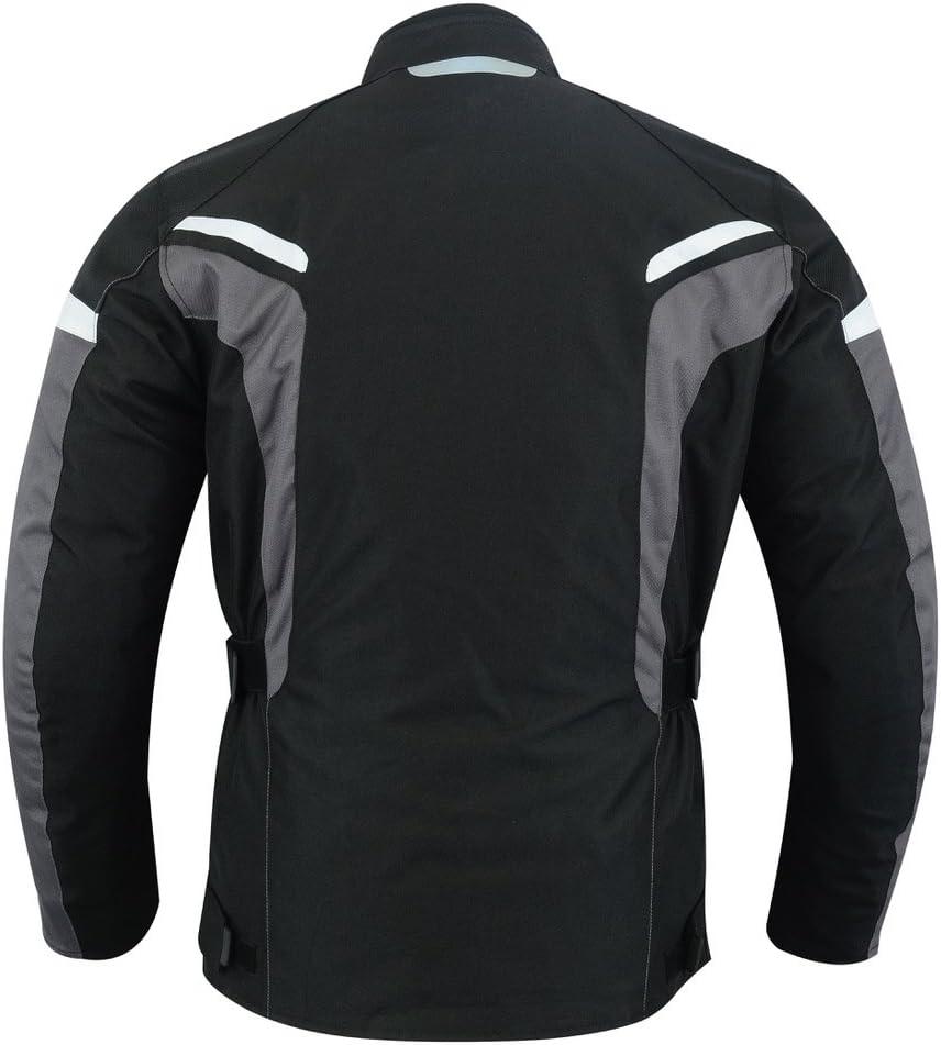 M, Schwarz wasserdicht Winddicht BOSmoto Herren Motorradjacke mit Protektoren und Reflektoren Motorrad Jacke Cordura Textil