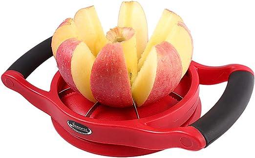 Cutter Large Size Newness Apple Slicer Corer Wedger Stainless Steel Easy Grip Fruit Slicer with Sharp Blade for Apples 8-Slice Premium Apple Slicer Corer Pears and More Red Divider