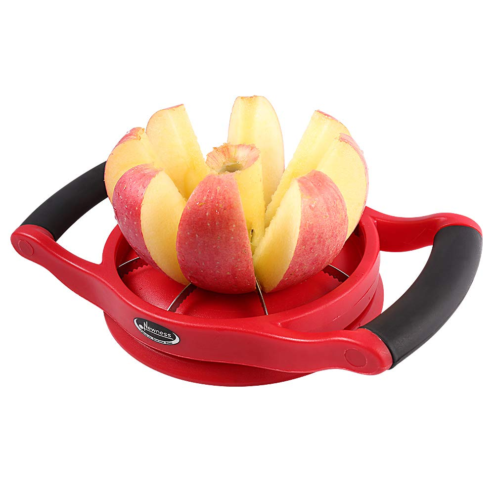 Apple Slicer Corer, [Large Size], Newness Premium Apple Slicer Corer, Cutter, Divider, Wedger, Stainless Steel Apple Slicer with 8 Sharp Serrated Blade, Ergonomic Grip Handle and Plastic Base by Newness Focus On Stainless Steel