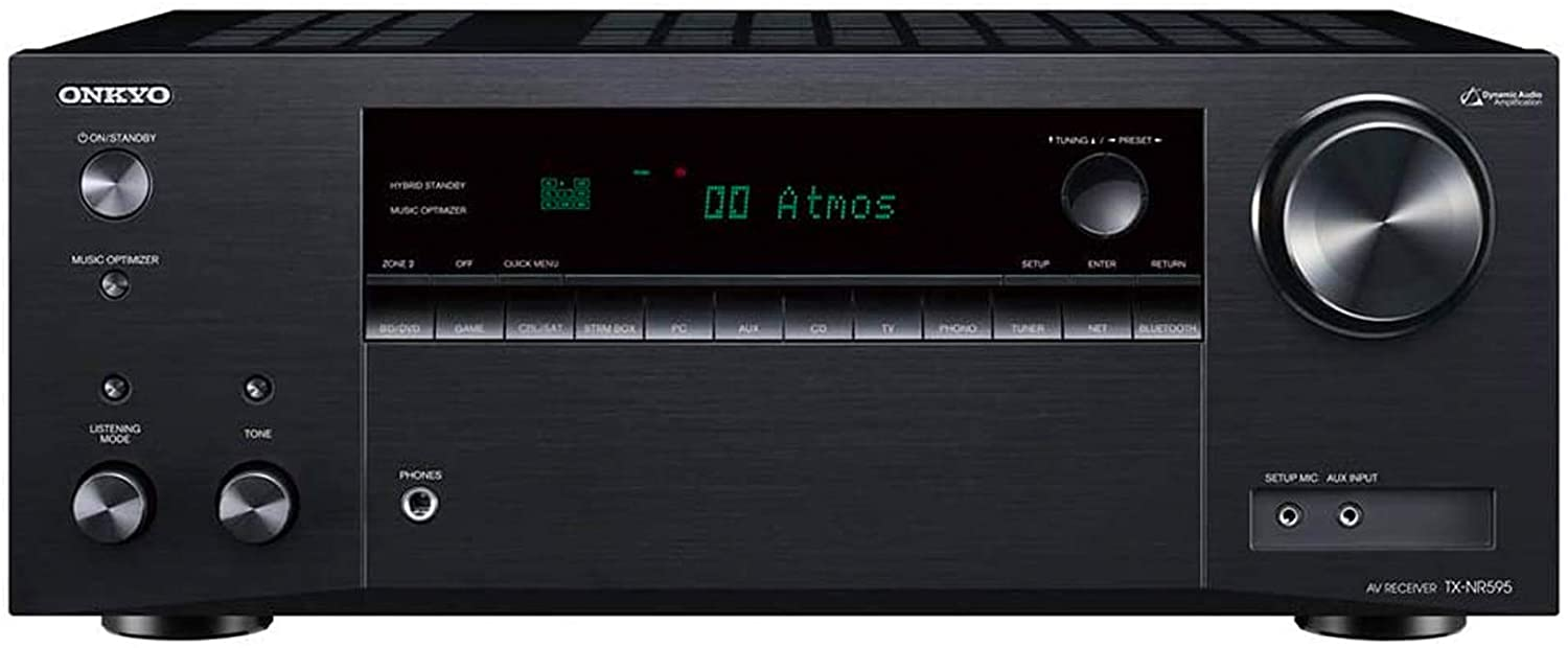 Onkyo TX-NR595 Home Audio Smart Audio and Video Receiver, Sonos Compatible and Dolby Atmos Enabled, 4K Ultra HD and AirPlay 2 (2019 Model), Black