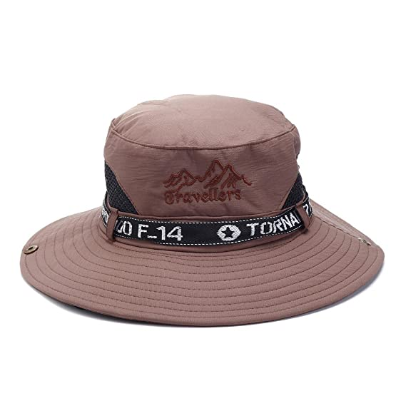 5d3b54108f5 SPA Men Summer Mesh Breathable Sunshade Wide Brim Bucket Hat  Amazon.in   Clothing   Accessories