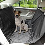 Aomaso Non-slip Car Bench Seat Cover Hammock for Pets Fits Back Seats and Trunk of Cars, Trucks and SUV with Seat Anchors and Safety Belt Opening - Black