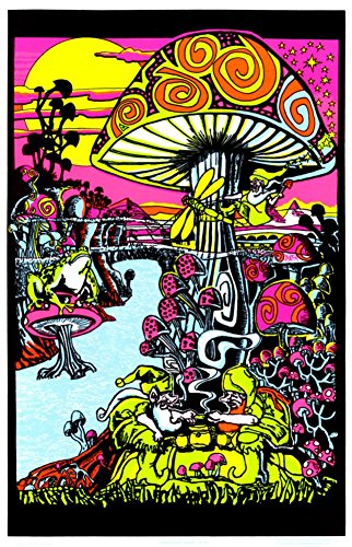 d) Flocked Blacklight Poster Print - 24x36 (Mushroom Blacklight Poster)