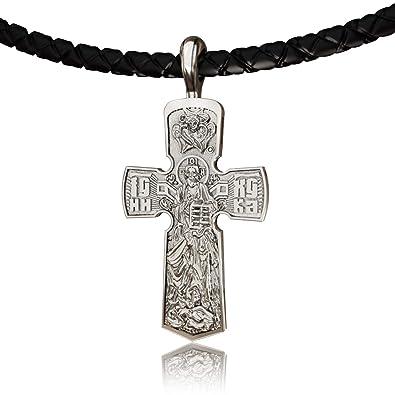 42ed20429879 EVBEA Collar Cruz Hombre Colgante Cadena Bizantina Collar Crucifijo con  Jesús Cruz Pendientes Moderno para Hombres en Bolsa para Joyas  Amazon.es   Joyería