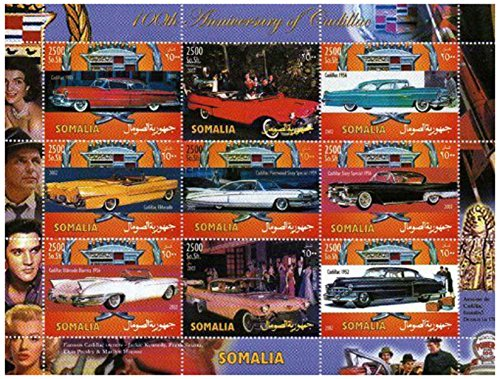 Classic Car Stamps for Collectors - 100th Anniversary of Cadillac - 9 mint stamps - never mounted and never hinged