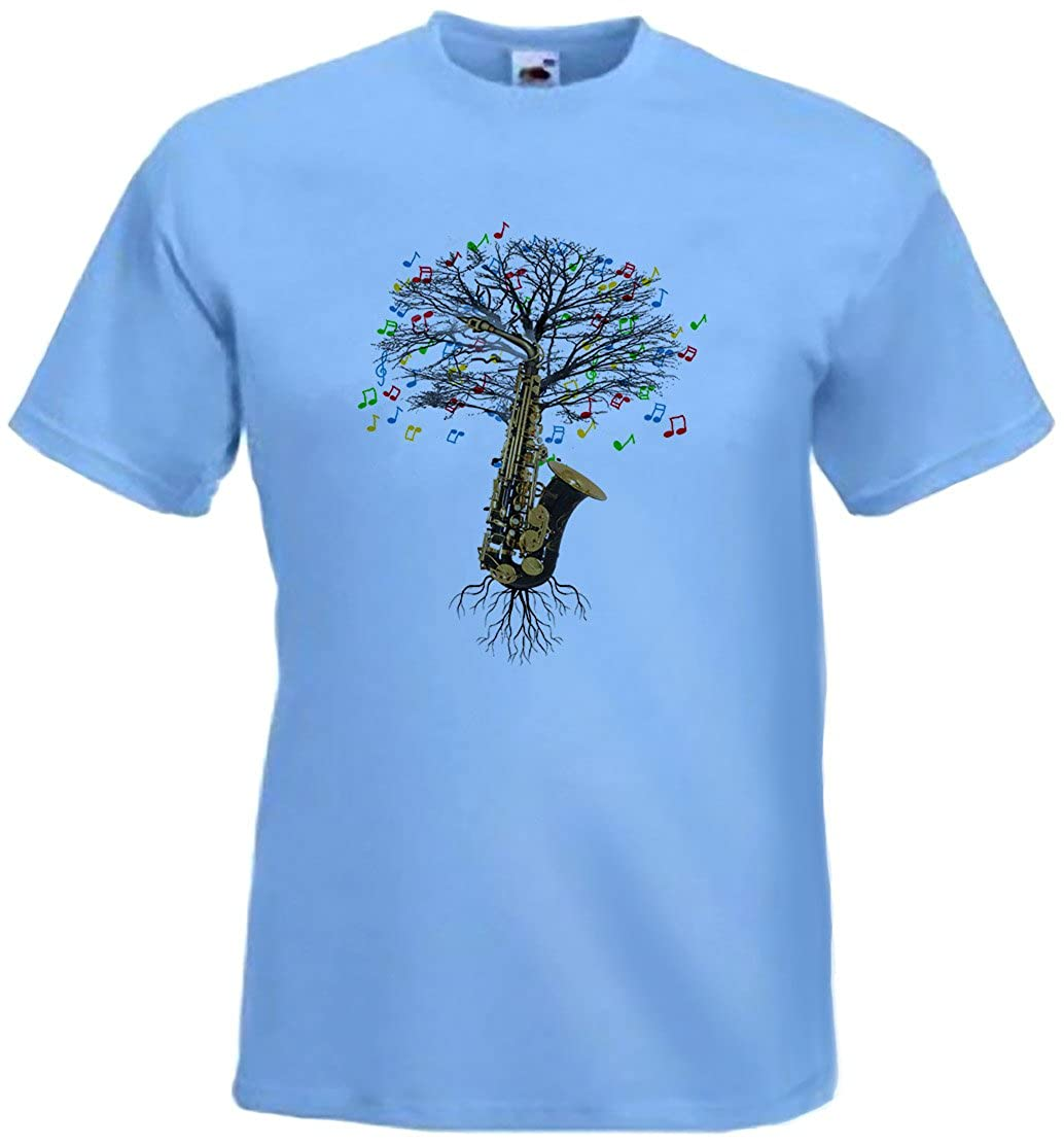 ad43e0ab Saxophone T-shirt Musical Tree Saxophonist brass instrument in all sizes:  Amazon.co.uk: Clothing