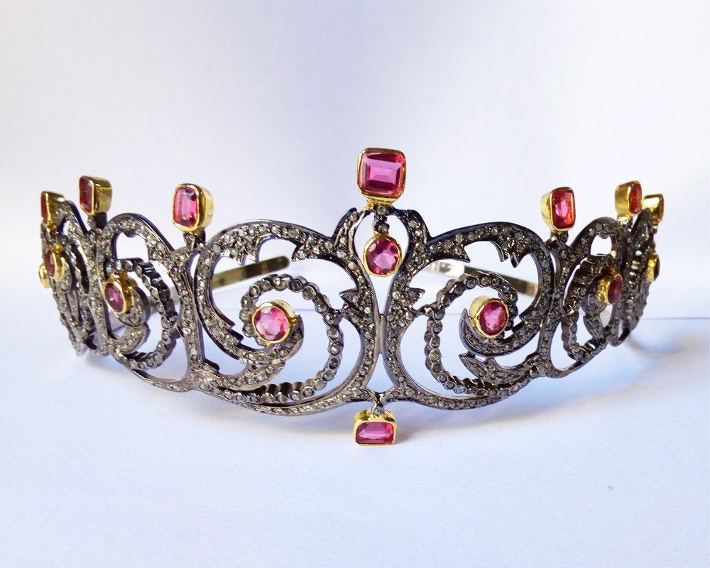 Princess Rose Cut Diamond Tiara - Wedding Rose Cut Diamond Crown - 925 Sterling Silver Tiara Crown - Diamond 925 Silver Tiara - Handmade Tiara