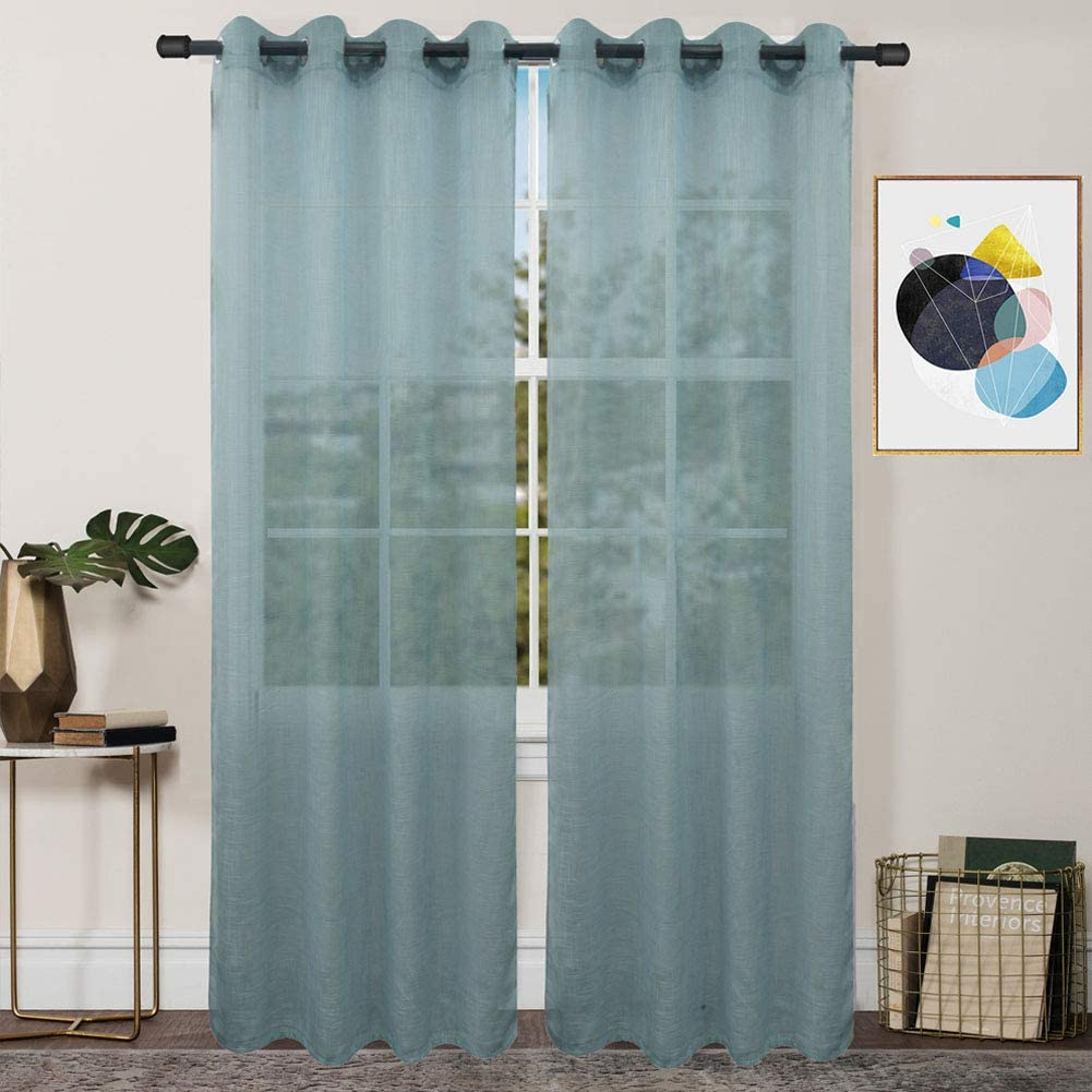 FY FIBER HOUSE Decoration Sheer Voile Window Curtains with Ring Top for Bed Room, 2 Panels,54 by 84-Inch, Greyish Green