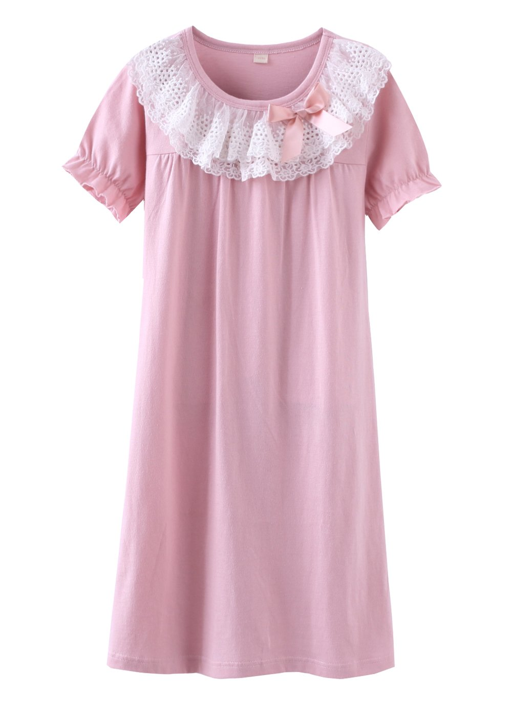Wsorhui Girls Short Sleeve Nightgowns Soft Cotton Lace Bowknot Princess Sleepwear Nightdress