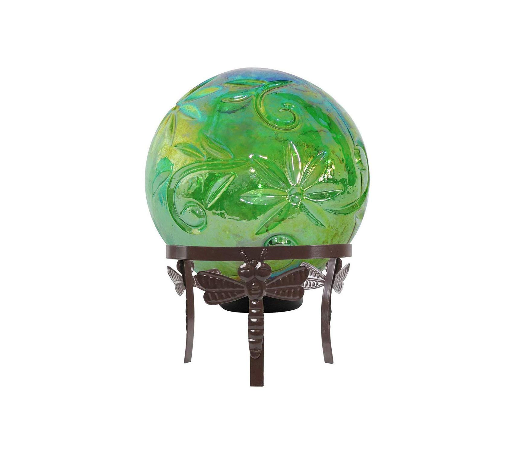 Outdoor Garden Backyard Décor Glass Globe Decor w/LED Light, 13 Inch Tall Green