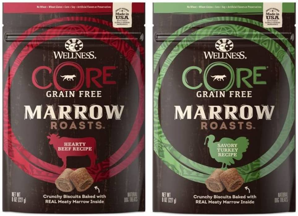 Wellness CORE Grain Free Marrow Roasts 2 Flavor Variety Bundle 1 CORE Hearty Beef, 1 CORE Savory Turkey, 8 Oz. Ea.
