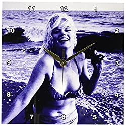 3dRose dpp_107190_1 Marilyn Monroe at The Beach Wall Clock, 10 by 10-Inch