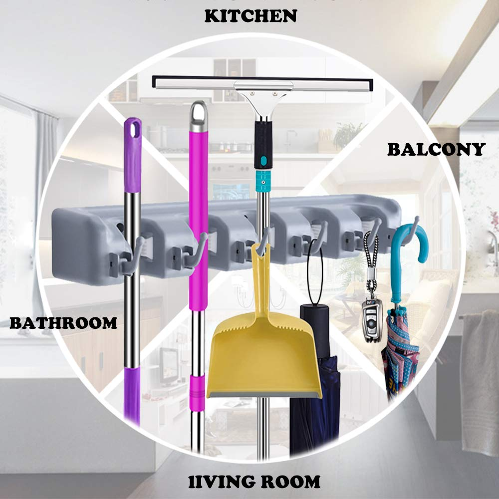 VOTRON Mop Broom Holder Organizer Wall Mounted Garage Storage Rack Tool Hanger 5 Position with 6 Hooks Holds up to 11 Tools for Home Kitchen Garden Garage (2 Pack)