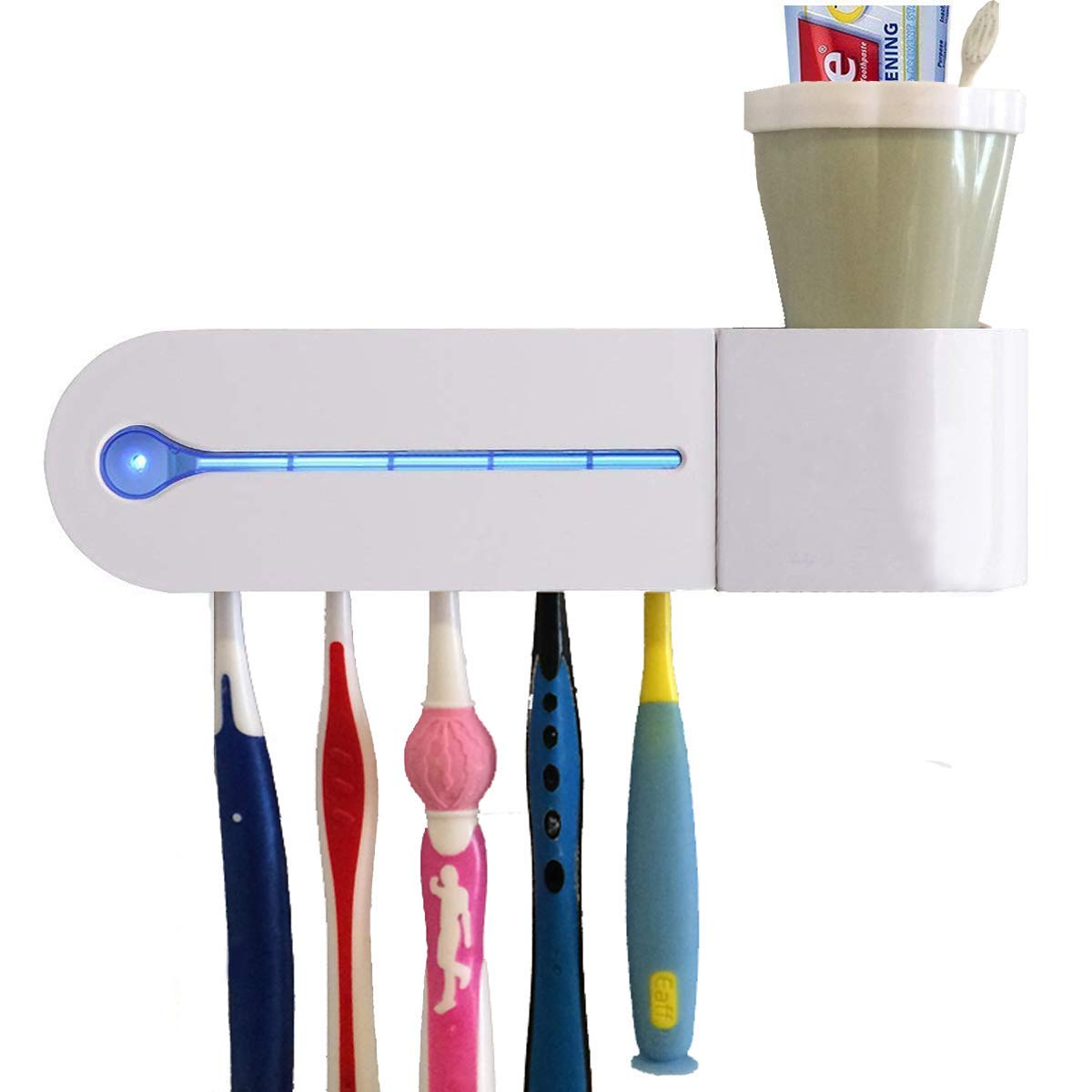MIFAVOR UV Toothbrush Sanitizer and Holder Wall Mounted AC Plug Family Toothbrush Cleaner for Kids Women Bathroom (White)