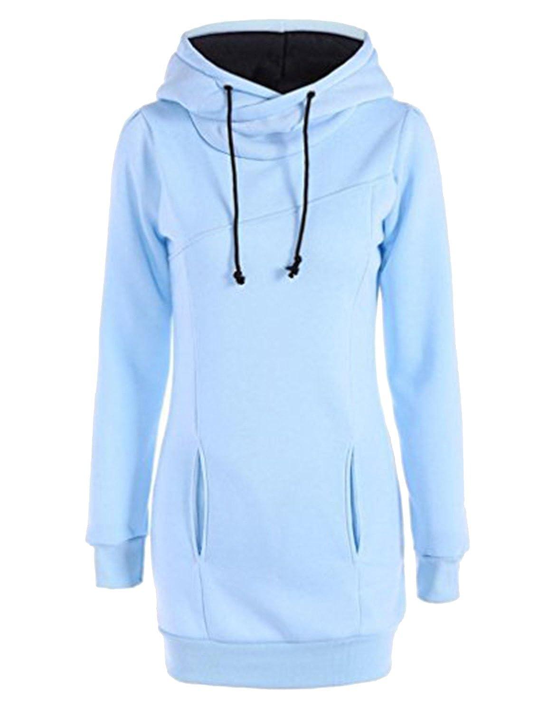 Women's Long Sleeve Solid Slim Fit Hoodie Dress Fleece Thick Long Sweatshirt 1271