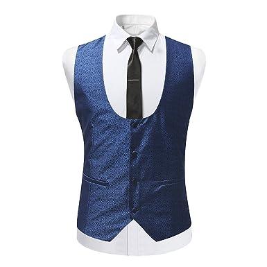 b6de31752307c Gilet Homme de Costume Slim fit pour Homme Casual Mariage sans Chemise et  Cravate