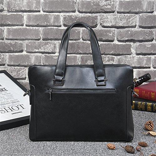 Bolso del mensajero del mensajero de BaronHong para los hombres, carpeta de cuero del ordenador portátil de la PU para el uso diario (café, M) negro