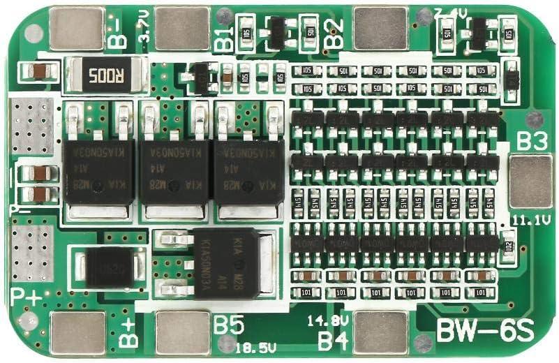 Delaman Tablero de protección de batería, 6S 15A 22V 24V Tablero de protección de batería PCB BMS para celda de Iones de Litio 18650