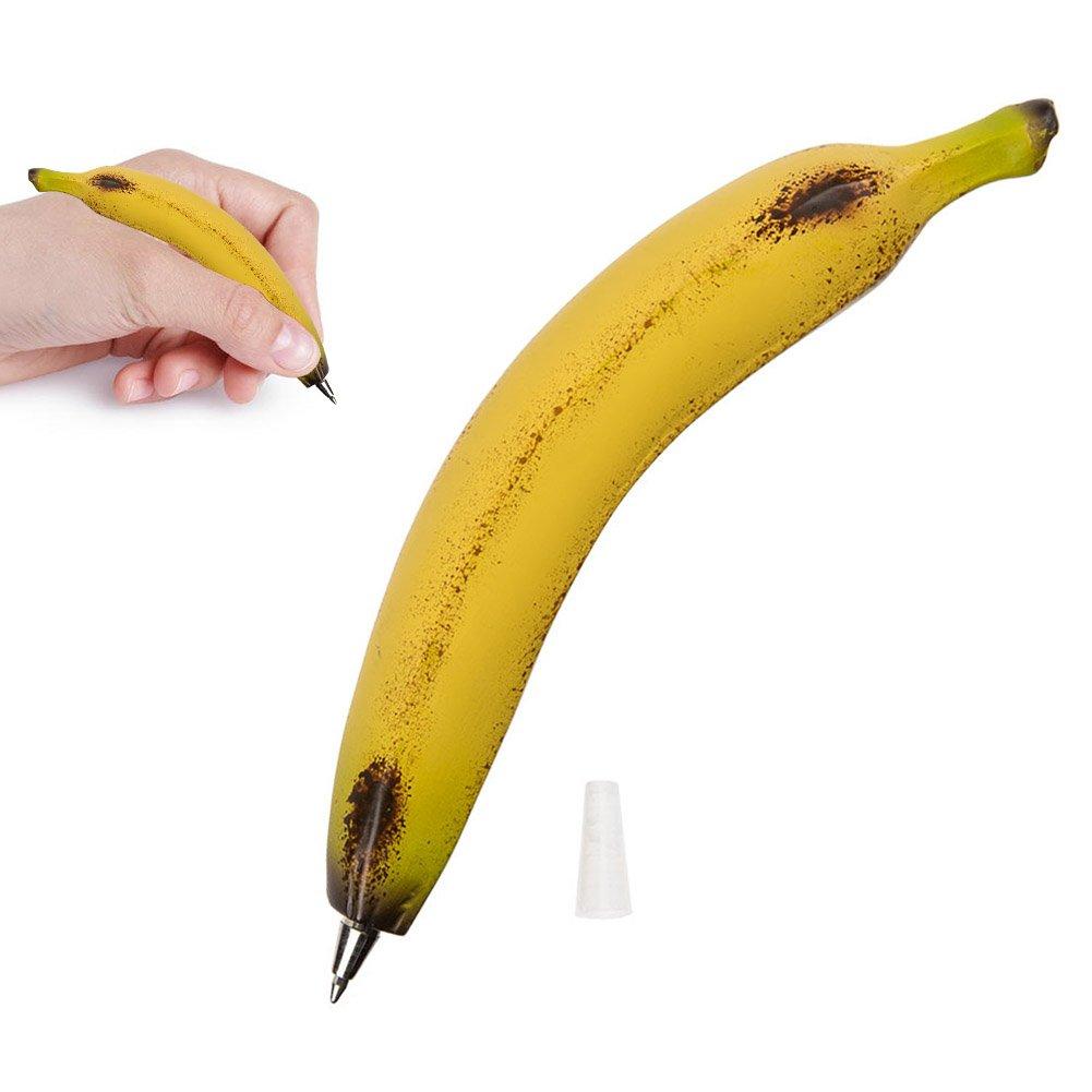 Stylo banane en r/ésine Banana pen Gadget insolite fantaisie original humour collection Belle imitation