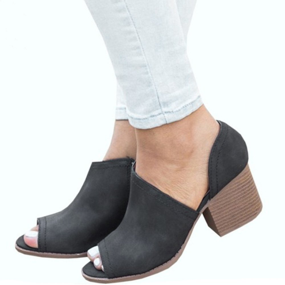 Selomore Womens Single Shoes Open Toe Fish Mouth Shoes Wild Square Heel High Heel Sandals (Black,US: 8)