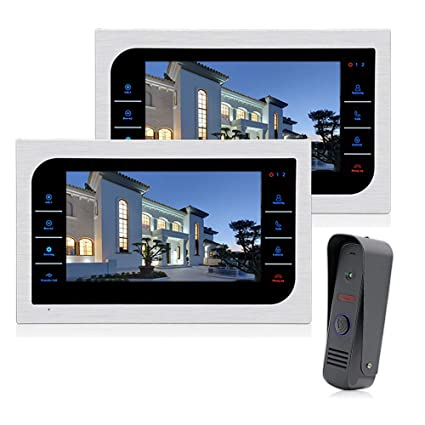 Door Intercom Security & Protection Mountainone 9 Inch Wireless Video Doorbell Video Tape With European Standard Plug Infrared Rain Intercom System Black silver Cheapest Price From Our Site