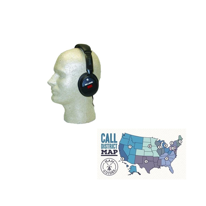 MFJ Headphones for radio communications and Ham Guides TM Pocket Reference Card Bundle