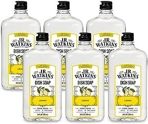 J.R. Watkins Dish Soap, Liquid, 24 fl oz, Lemon (6 pack) (Packaging May Vary)