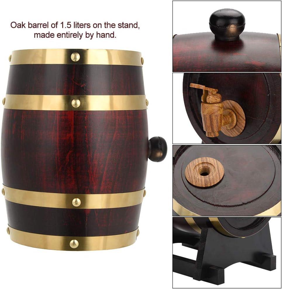 Bidone per Vino in Legno di Quercia 3//1,5 Litri Botte per Vino e Whisky 3 L SHIOUCY Whisky Schnaps