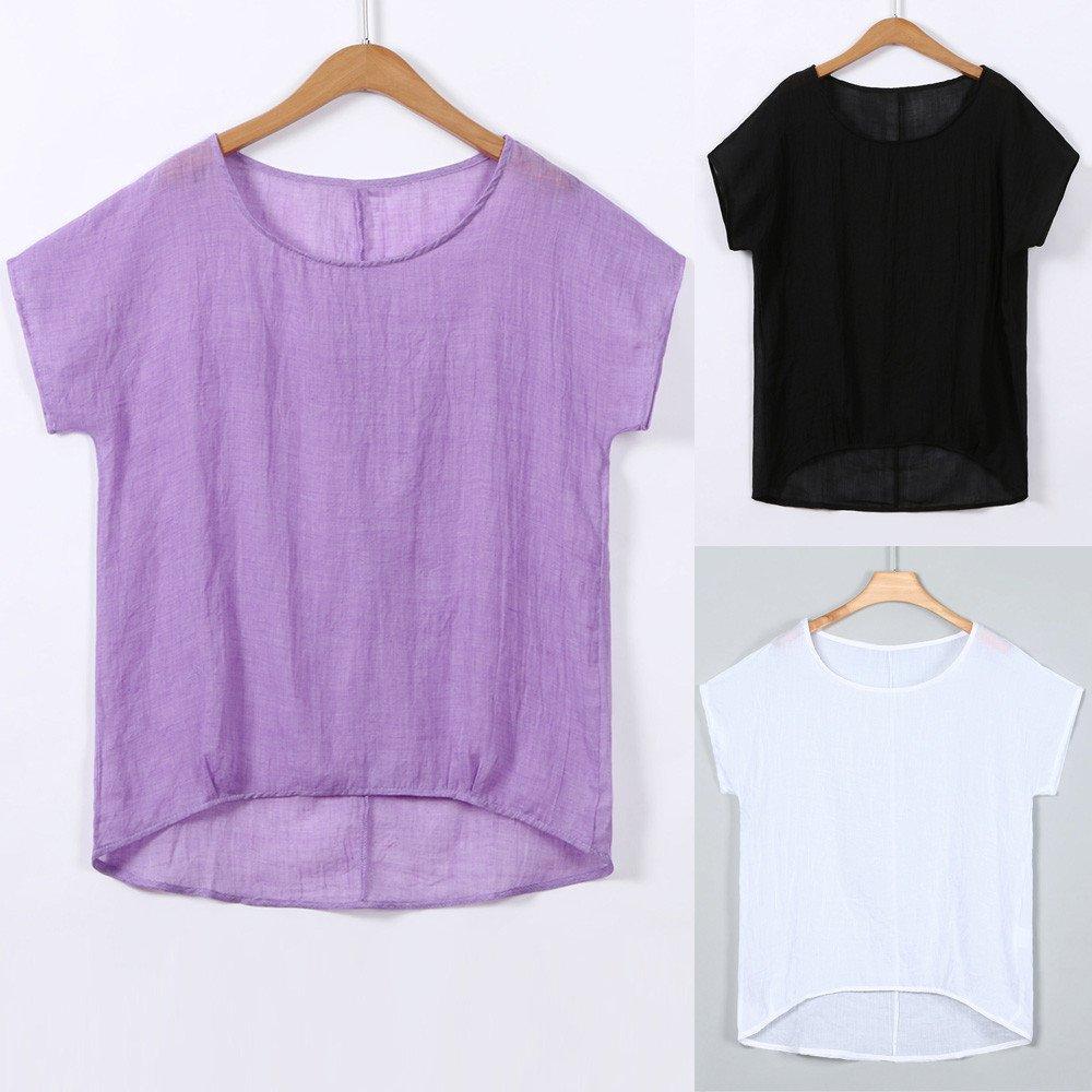 iLOOSKR Women Bat Sleeve Short Sleeve Shirt Casual Loose Top T-Shirt Pullover(White,XXXL) by iLOOSKR (Image #6)