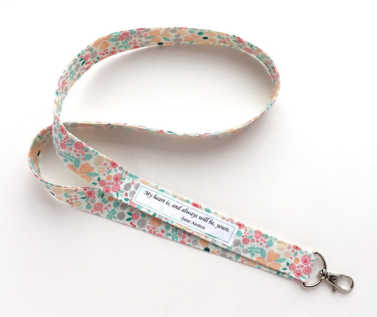 Fabric Lanyard with Jane Austen quote My Heart is Yours - Keychain, USB, ID Name Badge Holder - Organic