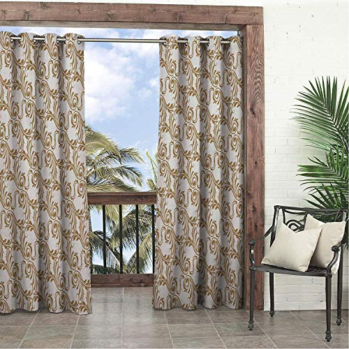(Linhomedecor Garden Waterproof Curtains Retro Brown Jacquard Weave White 9 Porch Grommet Privacy Curtain 120 by 72 inch)