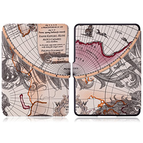 MoKo Case for Amazon Kindle 7th Gen - Ultra Lightweight Shell Case Stand Cover Case for Amazon Kindle 2014 ( 7th Generation ), Map A by MoKo (Image #2)'
