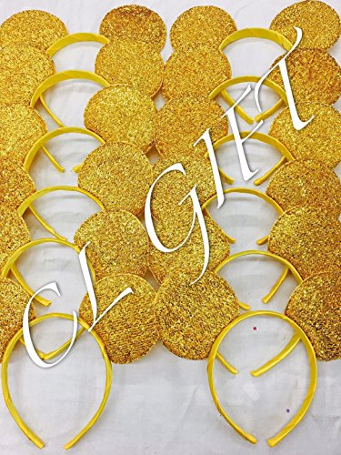Set of 12 - Yellow/Gold sequin Mickey Mouse Ears,Belle/Beauty and the beast, Snow white Ears , DIY Mickey Ears, Minnie Ears, Minnie Mouse Ears, DIY mickey -