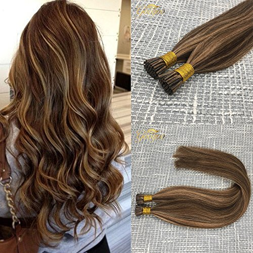 (Googoo Highlighted Prebonded Hair Extensions Chocolate Brown mixed Honey Blonde Ombre I tip Remy Stick Hair Extension 50 Strands 1g/s 18inch)