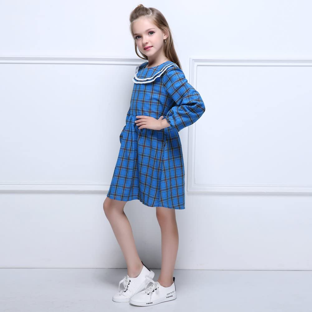 Kseniya Kids Big Little Girls Cotton Dresses Peter Pan Collar Plaid Petal Sleeve Bowknot Lace Girl Autumn Winter Dress