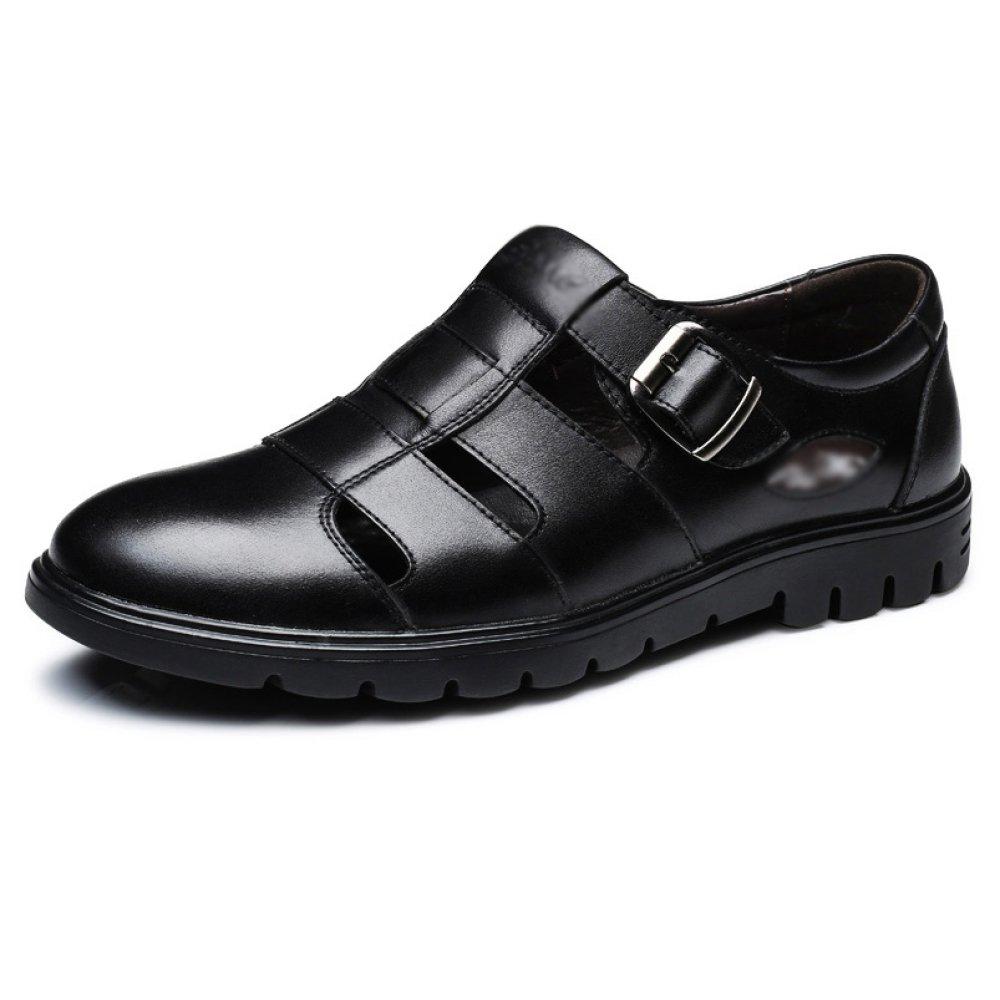 Zapatos De Cuero Genuino De Los Hombres del Verano Zapatos Sanos del Negocio del Hueco Respirable Hueco del Negocio,Black-42=260mm 42=260mm Black