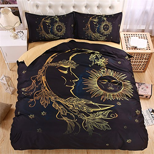 KTLRR 3D Galaxy Bedding Set Golden Sun and Moon Bedding Print Twin Full Queen King Bohemian Bedclothes Duvet Cover Set Bedlinen (US Queen 3pcs, sun) -
