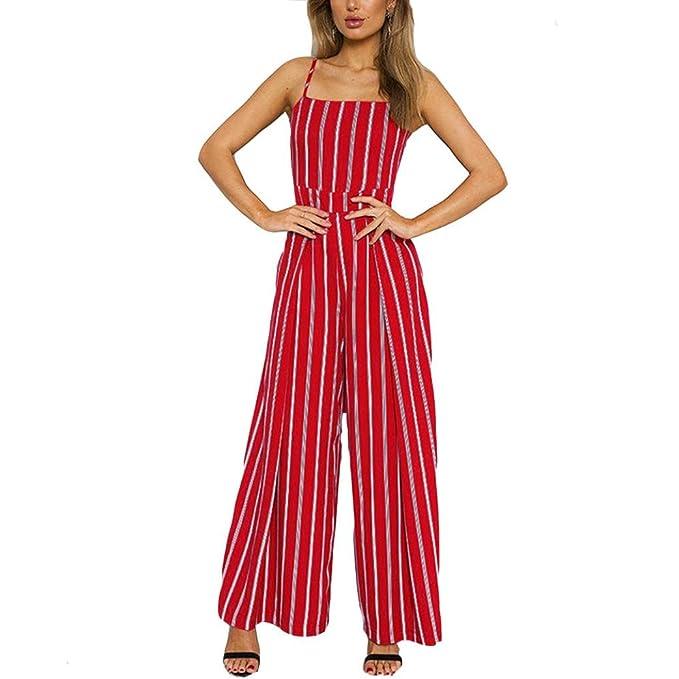 e668ab322e3 Amazon.com  Mikkar Women Sleeveless Striped Jumpsuit Casual Clubwear Loose  Pants Outfit Sale  Clothing