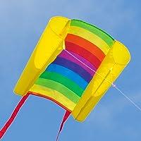CIM Kinder-Drachen - Beach Kite Rainbow - Einleiner-Flugdrachen für Kinder ab 6 Jahren - 74x47cm - inkl. 80m Drachenschnur und Streifenschwänze