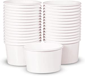 Paper Ice Cream Cups - 30-Count 5.5-Oz Disposable Dessert Bowls for Hot or Cold Food, 5.5-Ounce Party Supplies Treat Cups for Sundae, Frozen Yogurt, Soup, White