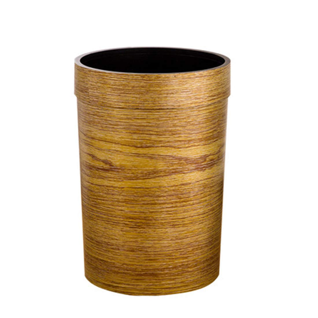 mingcheng 2.37 Gallon Small Trash Can Capacity Stylish Barn Wood Garbage Can Waste Basket Bathroom, Bedroom, Office - Tan L