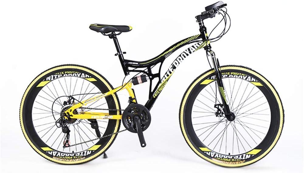 WQY Bicicletas De Montaña, Bicicleta De Montaña Rígida De 26 Pulgadas, Cuadro De Doble Suspensión Y Bicicleta De Montaña con Tope De Suspensión, Todoterreno, 21 Velocidades