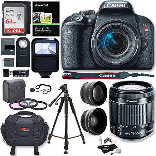 Canon EOS Rebel T7i Camera, EF-S 18-55 IS STM Lens Kit, Sandisk 64GB, Ritz Gear Premium SLR Camera Bag, Filter...