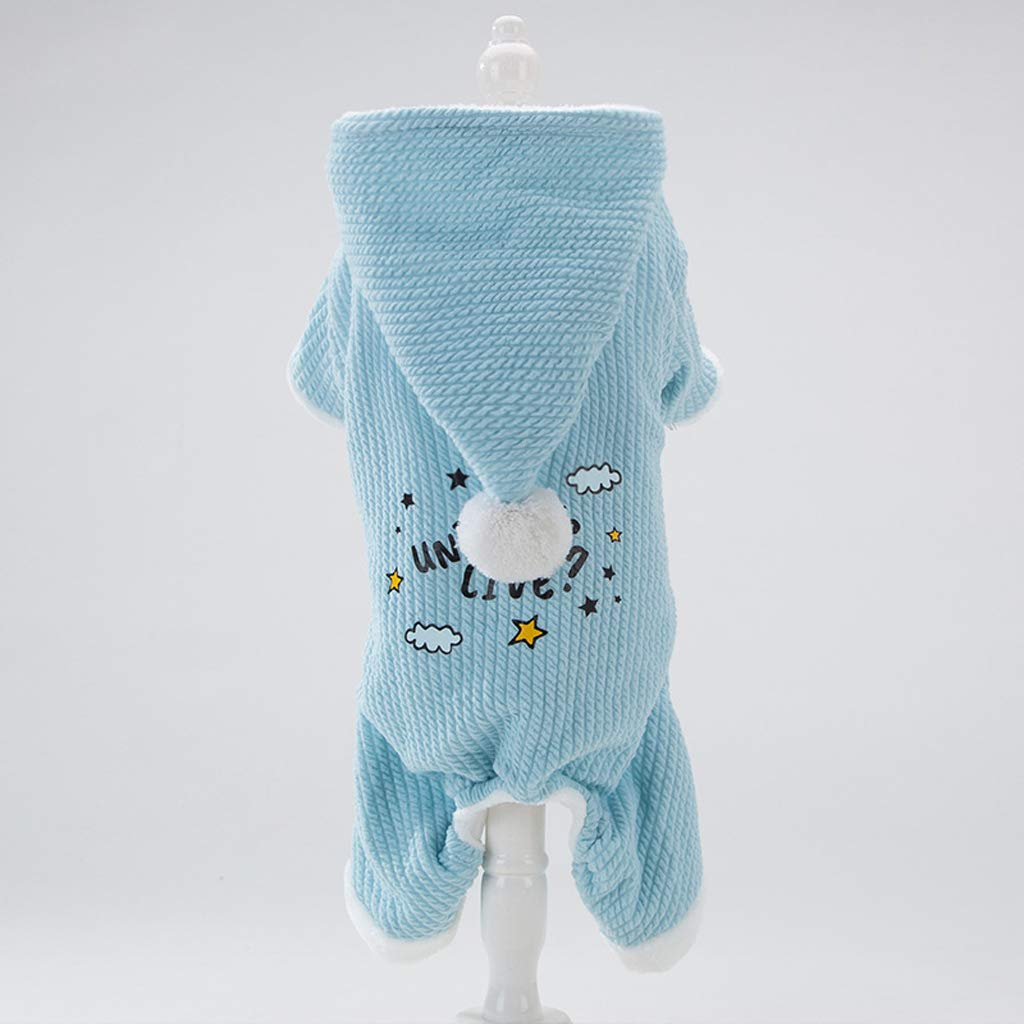 Medium CXQ Small Dog Four-Legged Cotton Coat Than Bear Teddy Puppies Winter Thick Warm Dog bluee Puppy Winter Clothes (Size   M)