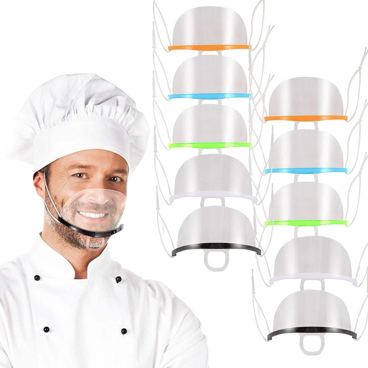 10pcs Fogless Transparent Open Face Guard- Reusable Face Mouth Cover in 5 Colors with Adjustable Strap Prevent Spit Clear Film Cover for Food Truck Bakery Restaurant Hotel Mall Beauty Salon