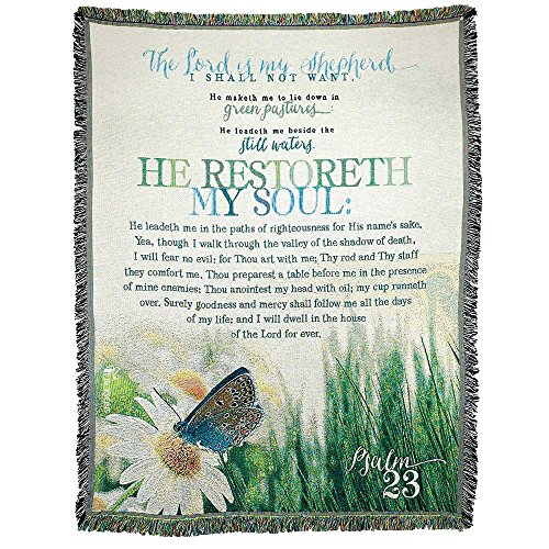 Psalm Throw - He Restoreth My Soul Psalm 23 All Cotton 52 x 68 Tapestry Throw Blanket