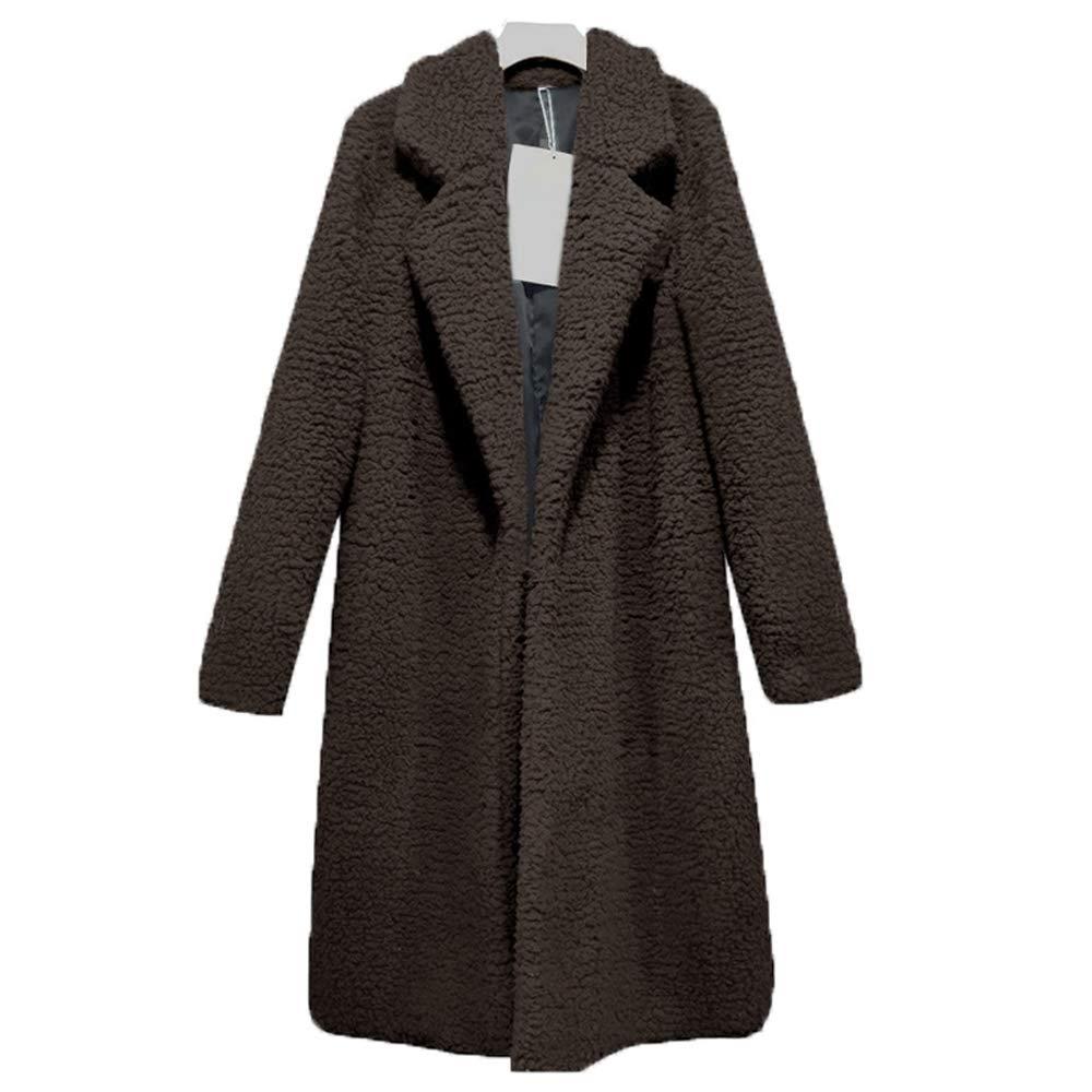 Brown(long) Bibowa Fuzzy Jacket Women Faux Shearling Soft Lightweight Warm Winter Coats Trendy