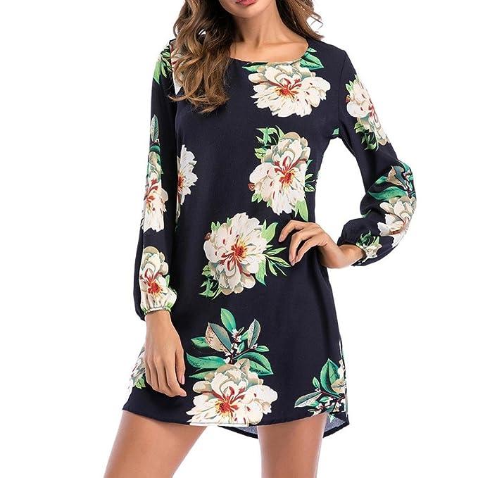 Lenfesh Vestidos de Mujer Talla Grande, Ocasional Vestidos de Floral para Playa Moda Mini Vestido