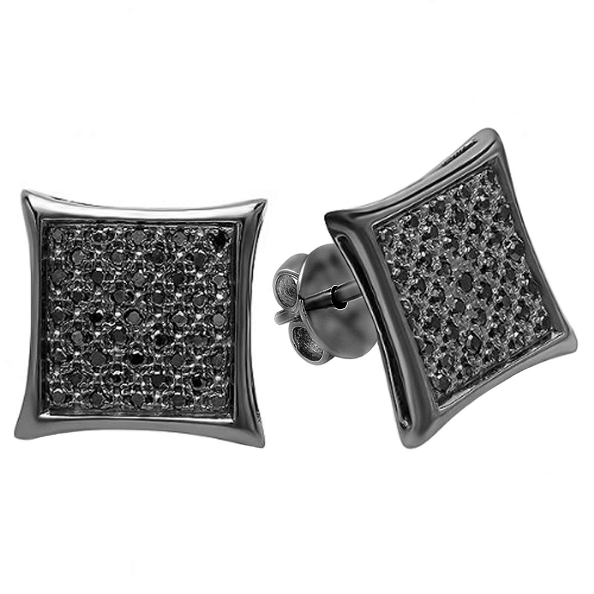 Dazzlingrock Collection 0.23 Carat (Ctw) Black Plated Black Diamond Men's Micro Pave Stud Earrings, Sterling Silver